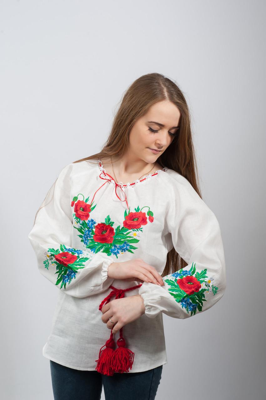 Женская вышиванка с длинным рукавом Волошки  - Народный бутик - интернет магазин вышиванок. Вышитые платья, вышиванки женские, мужские, детские. в Полтаве