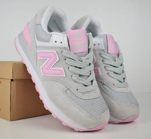Женские кроссовки New Balance 574 серые с розовым. Живое фото (Реплика ААА+) 2eafe757378b1