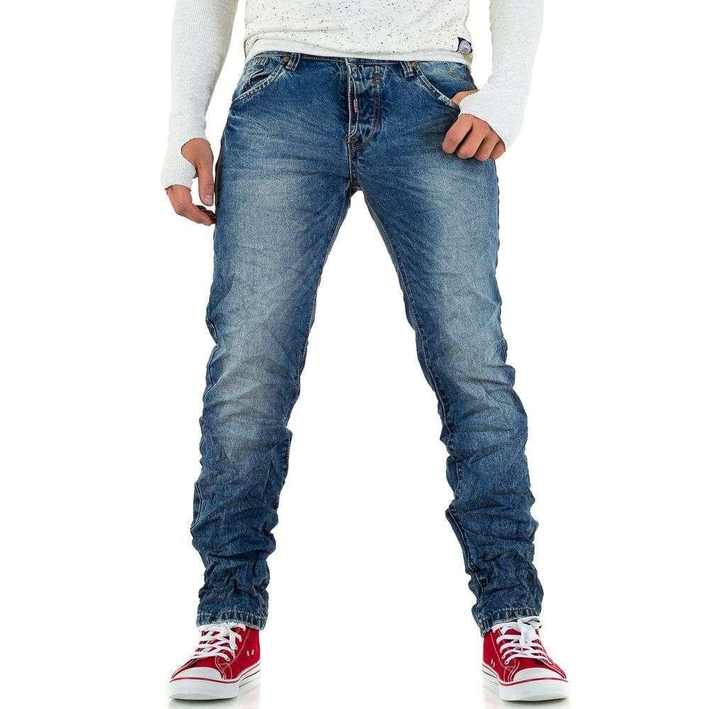 Базовые джинсы мужские мятые Wangue Jeans (Европа), Синий