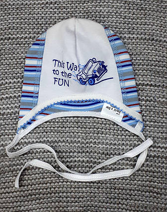 Шапка на мальчика детская на завязках весна-осень голубого цвета Davids Star (Украина) размер 38, фото 2