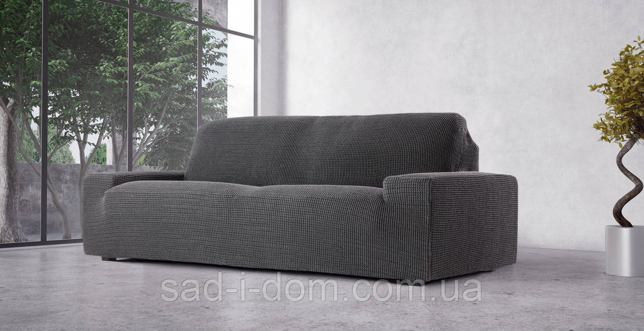 Чехол натяжной на 3-х местный диван Гламур Серый