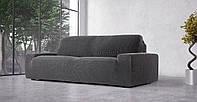 Чехол натяжной на 3-х местный диван Гламур Серый, фото 1
