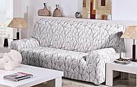 Чехол натяжной на 3-х местный диван Ванеса Белый, фото 1