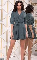 66ddf734c54 Красивое платье короткое на запах с поясом воротник рукав три четверти горох  бутылка