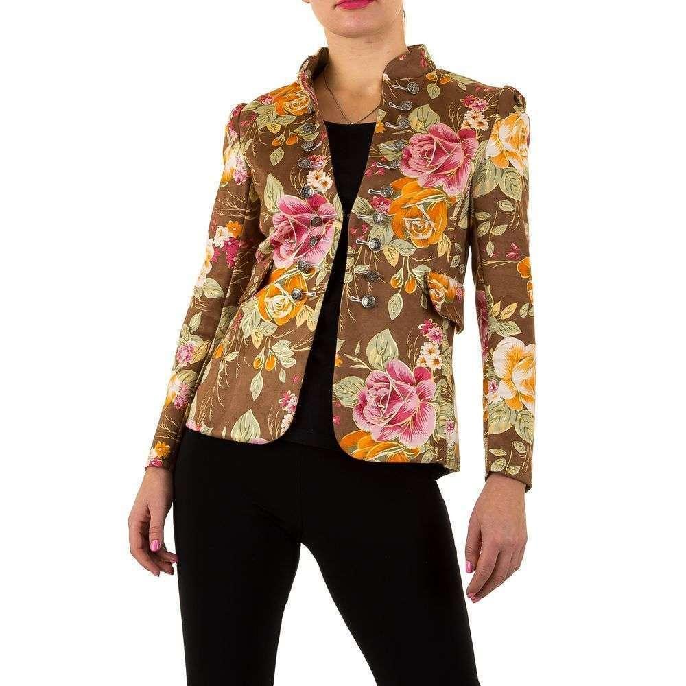 Пиджак милитари женский с цветочным принтом (Европа), Коричневый