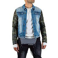 e76bc55799acf Джинсовая куртка мужская с кожаными рукавами Sixth June (Европа), Синий