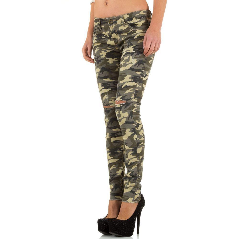 Женские джинсы скинни рваные на коленях Girl Vivi (Англия), Камуфляжный