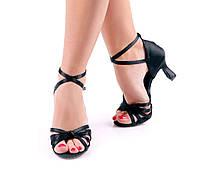 Босоножки для бальных танцев Pasfailli 1210 7 см каблук черные, сатин