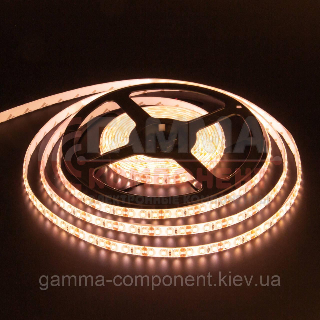 Светодиодная лента SMD 2835 (120 LED/м), теплый белый, IP65, 12В - бобины от 5 метров