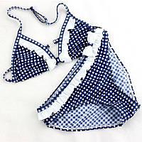 Модный купальник для девочки в клетку с рюшами и бантом синий