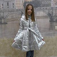 Детское демисезонное серебристое пальто, фото 1