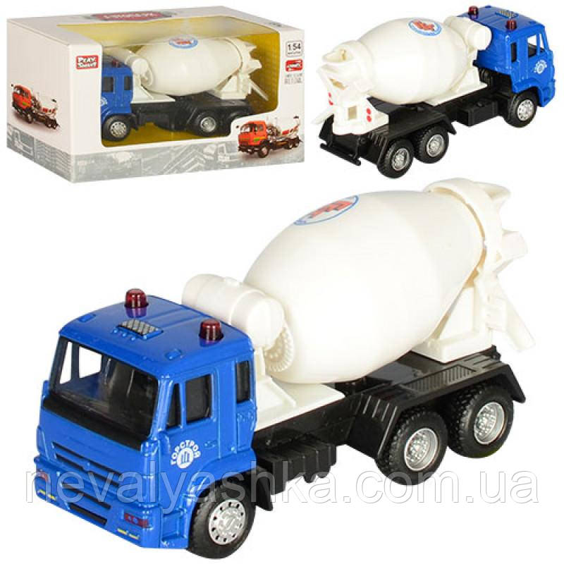 Машинка PLAY SMART Автопарк Бетономешалка Камаз, металл+пластмасса, инерционная, 6516C, 005119