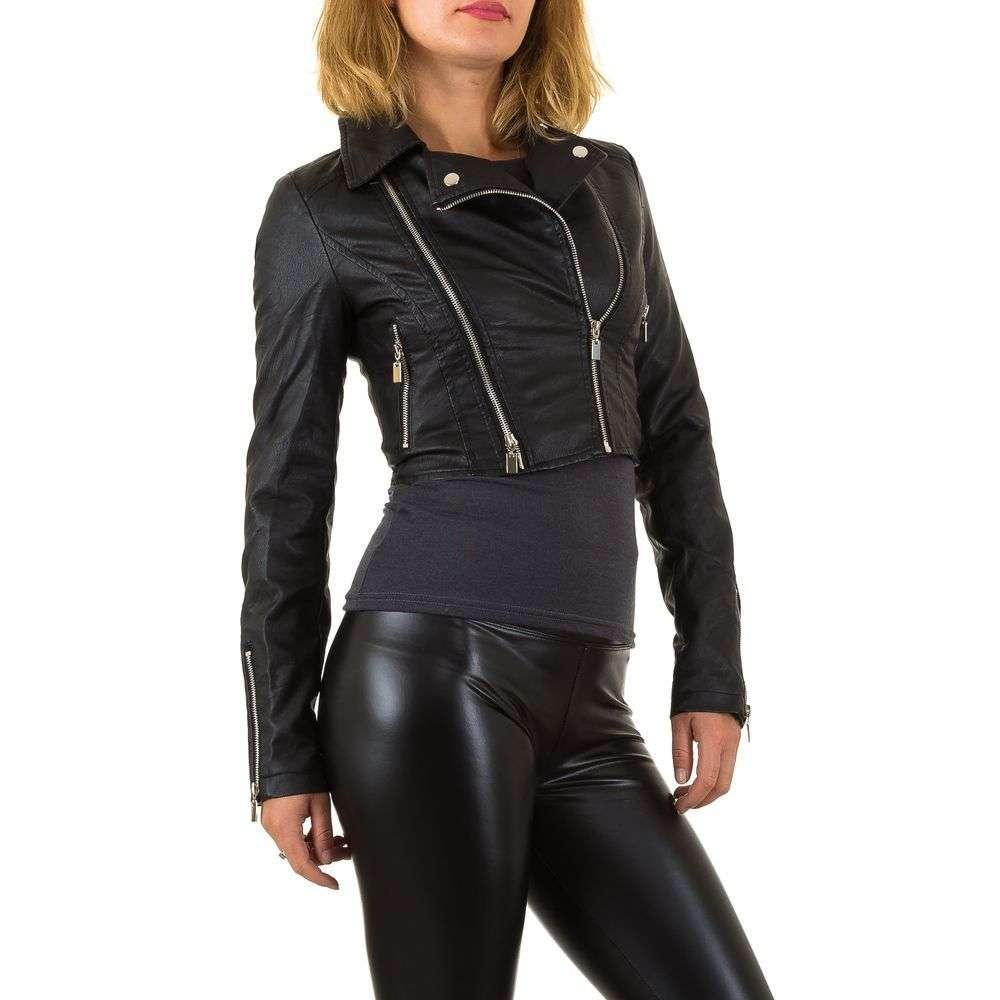Короткая куртка байкерская женская с молниями (Европа), Черный