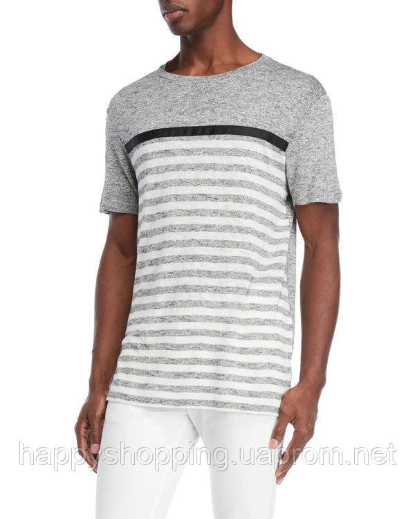 Мужская серая льняная футболка в полоску Karl Lagerfeld Paris