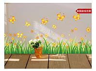 """Интерьерная наклейка на стену, мебель """"Желтые цветочки и бабочки""""   (82763)"""