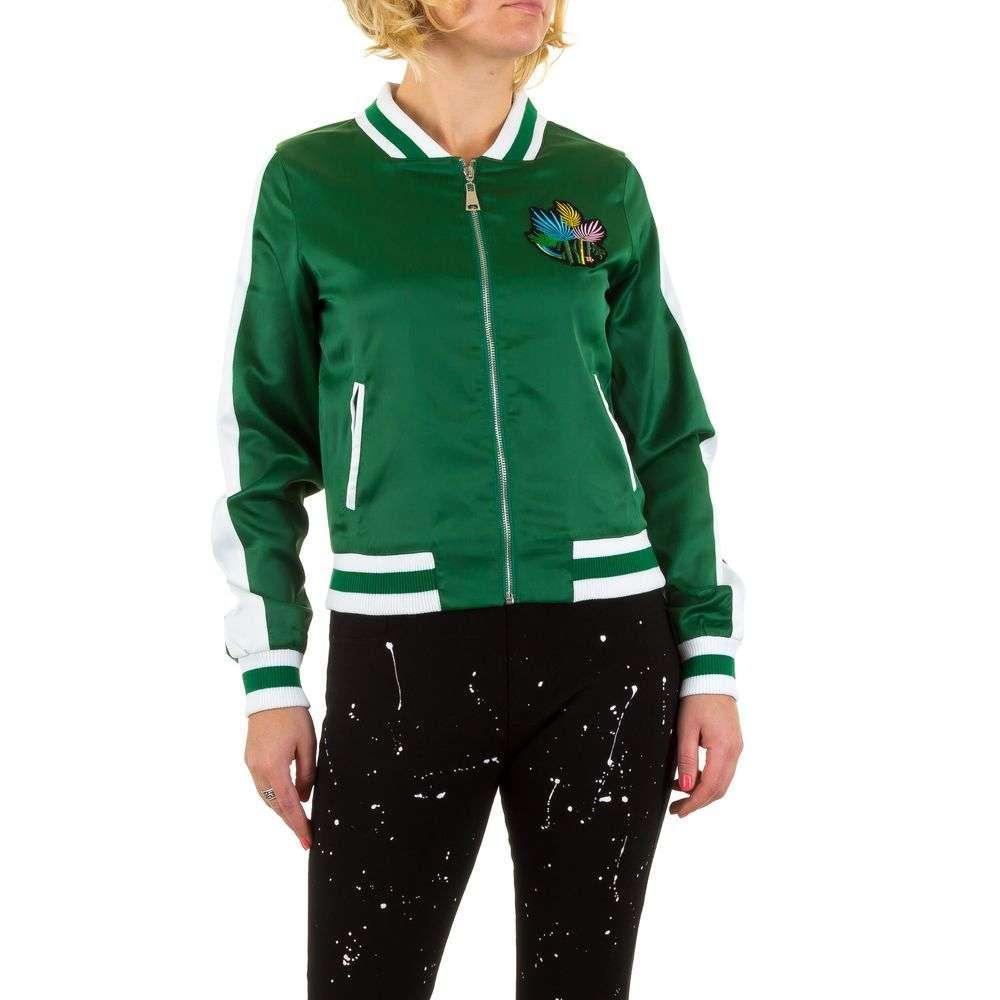 Бомбер с лампасами и вышивкой женский Emma&Ashley Design (Европа), Зеленый