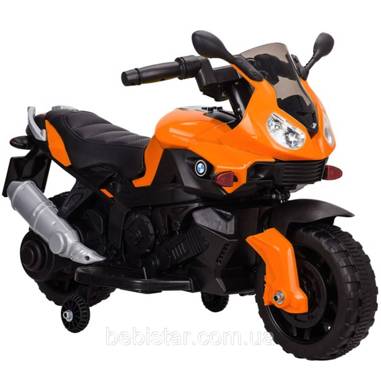 Электромобиль-мотоцикл оранжевый T-7219/1 ORANGE мотор 1*20W аккумулятор 6V4,5AH деткам 2-4 года