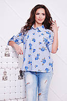Рубашка Розочка голубой джинс
