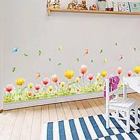 """Виниловая наклейка на стену, мебель """"Желтые и красные цветочки""""   (643658)"""