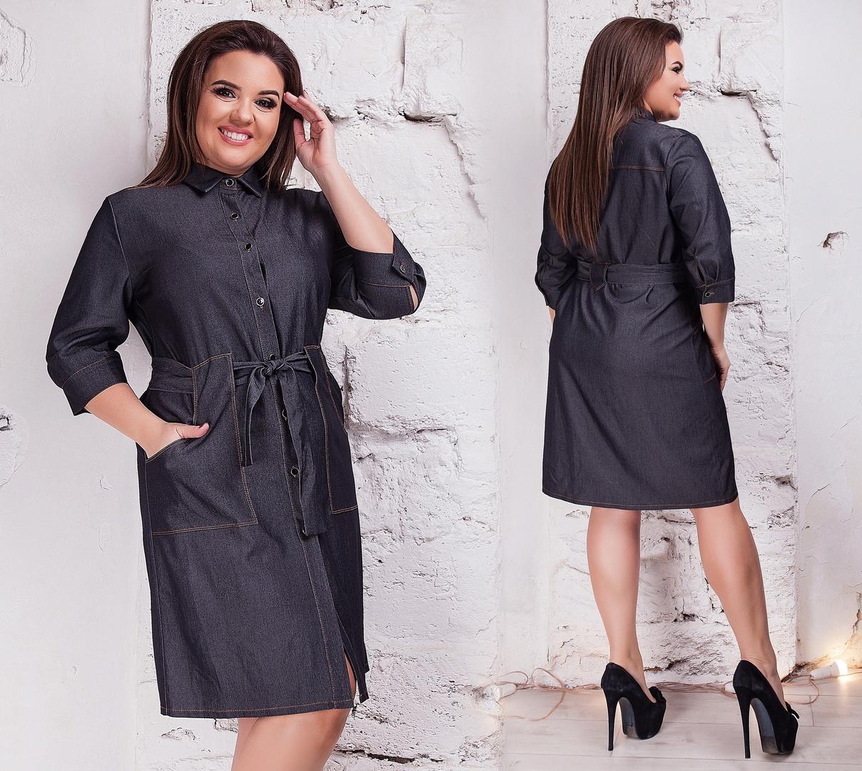 86e3831eb5118e5 Женское джинсовое платье рубашка с воротом на пуговицах с карманами батал  размер:50-52