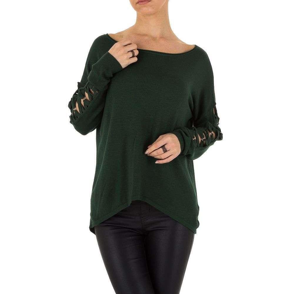 Женский джемпер с удлиненной спинкой и шнуровкой (Европа), Темно-зеленый