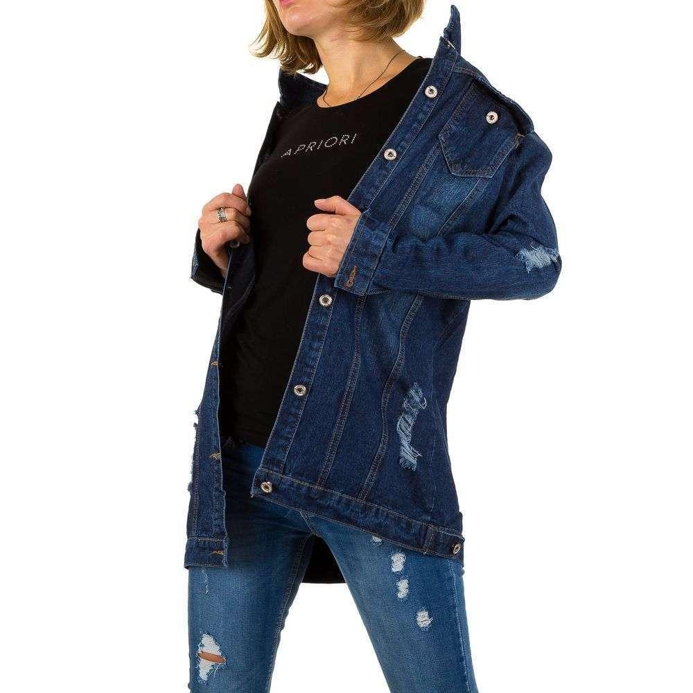 Джинсовая длинная куртка рваная Noemi Kent Paris (Франция) Синий