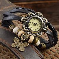 Женские часы браслет с бабочкой черные