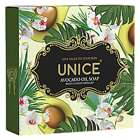 Натуральное твердое мыло с маслом авокадо для сухой увядающей кожи 100 г UNICE