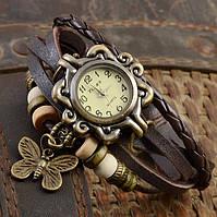 Женские часы браслет с бабочкой коричневые