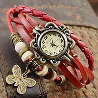 Женские часы браслет с бабочкой вишневые, фото 1