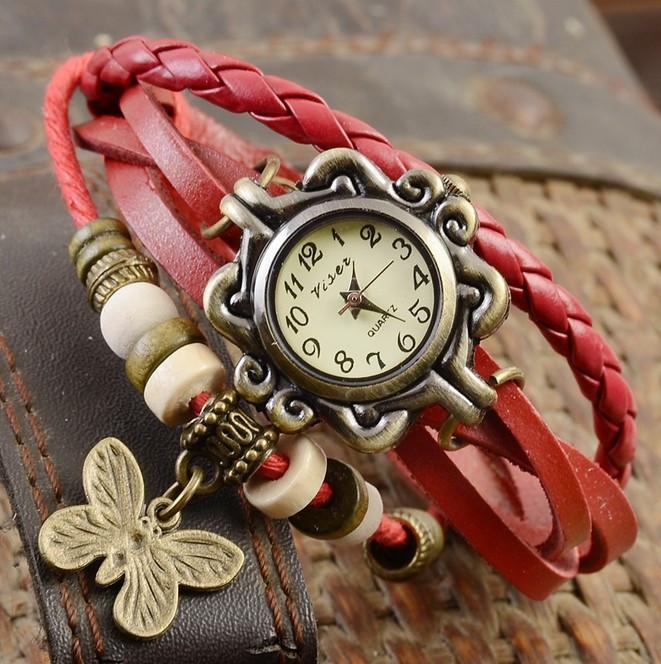 Женские часы браслет с бабочкой вишневые
