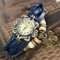 Женские часы браслет с бабочкой синий