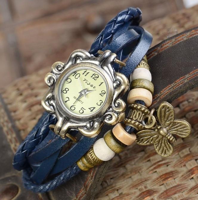 Жіночі годинники браслет з метеликом синій