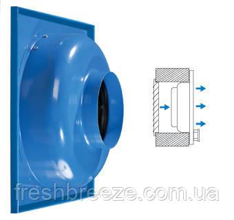 Канальный центробежный приточный вентилятор для монтажа в стену Вентс вц-пк 100