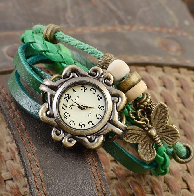 Женские часы браслет с бабочкой зеленые