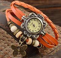Женские часы браслет с бабочкой оранжевые, фото 1