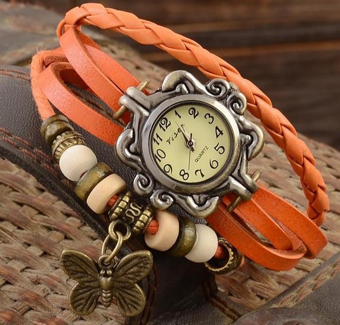 Женские часы браслет с бабочкой оранжевые