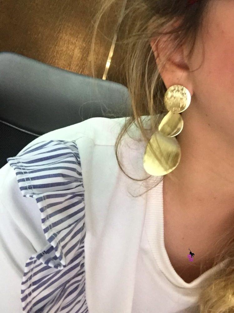 """Блестящие большие серьги под золото пусеты в ушко ухо сережки металл earrings качество """"Hand Made"""""""