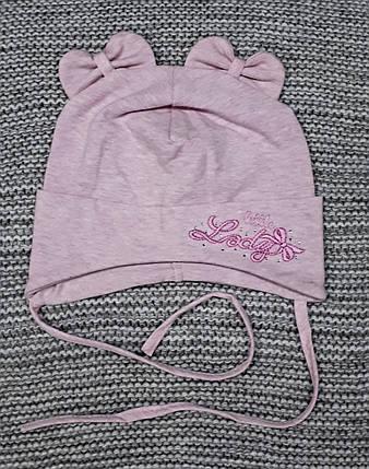 Шапка на девочку с ушками весна-осень на завязках розовая Fido (Польша) размер 46 48, фото 2