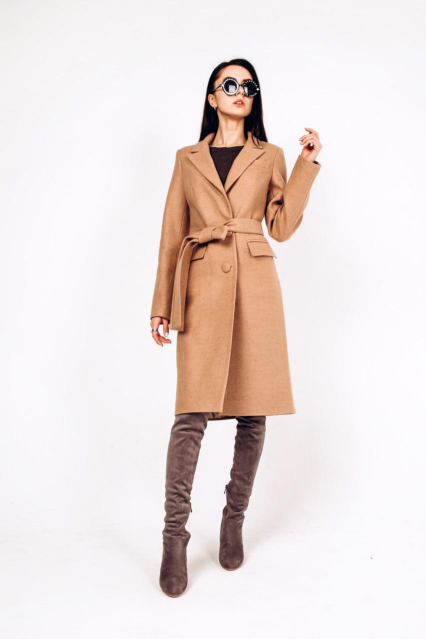 Пальто осеннее из шерсти цвета кемел Д 290