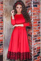 Элегантное платье с кружевом Азалия, красный