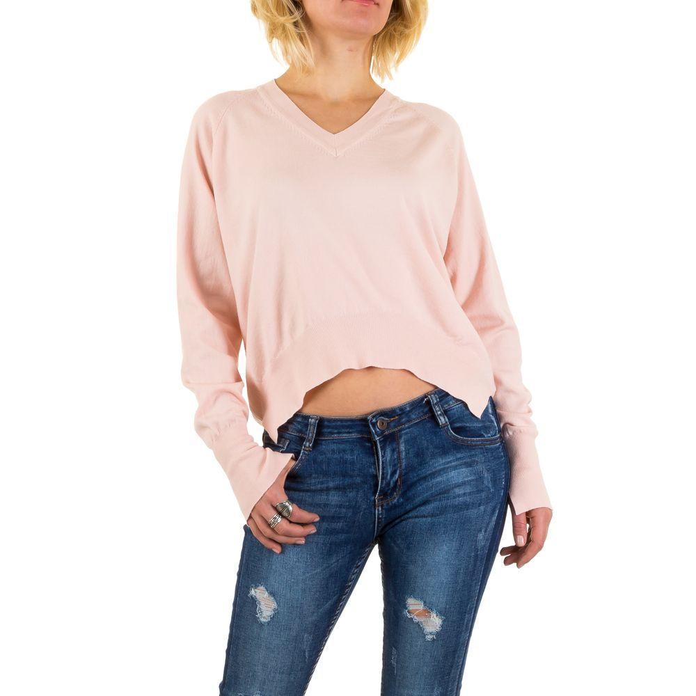 Женский пуловер с удлиненной спинкой Jcl Paris (Франция), Пудровый