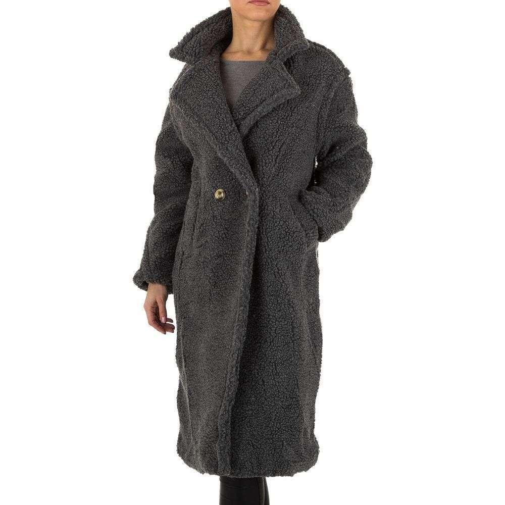 Плюшевое пальто женское длинное Shk Paris (Франция), Серый