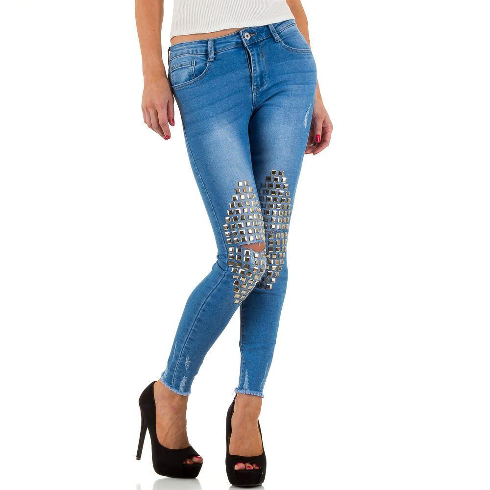8f5c0b01e0a7 Женские джинсы с декоративными коленями Goldenim (Франция), Синий купить  оптом в ...