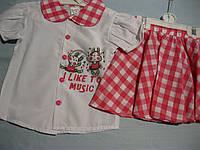 Детский летний комплект - костюм: рубашка и юбочка,  для девочки 3/5:Турция