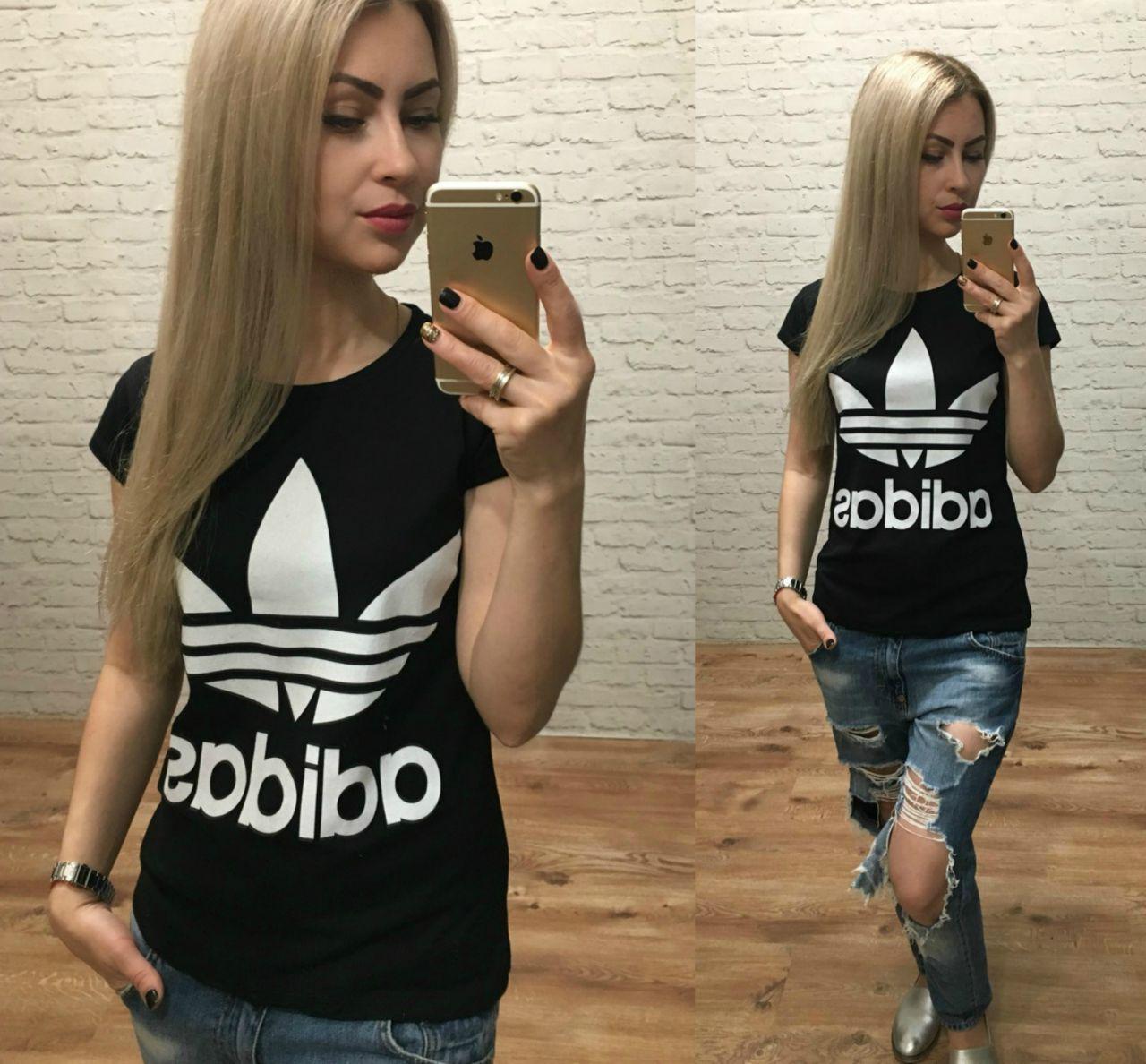 Футболка женская Adidas Турция черная р. S-M универсальный