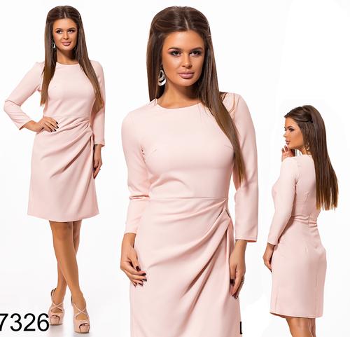 Весеннее женское платье по колено (персик) 827326