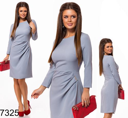 Модное женское платье с рукавом (светло-серый) 827325