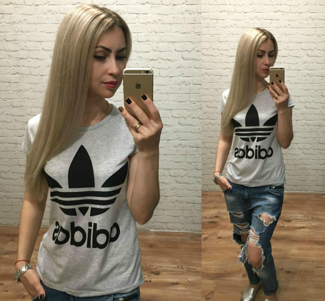 Футболка женская Adidas Турция серая р. S-M универсальный