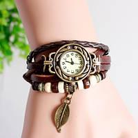 Женские наручные часы браслет с листочком